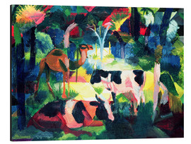 Alluminio Dibond  Landscape with Cows and a Camel - August Macke