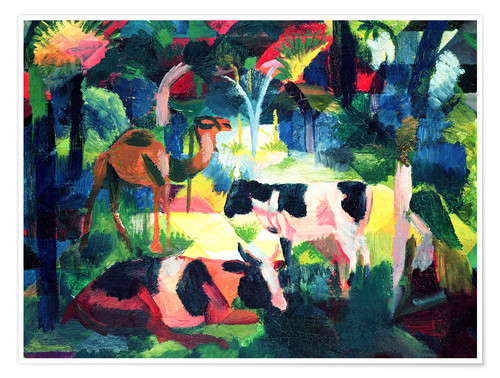 Poster Premium Landscape with Cows and a Camel