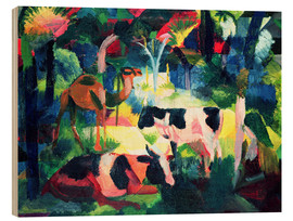 Stampa su legno  Landscape with Cows and a Camel - August Macke
