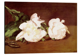 Stampa su alluminio  Branch of White Peonies and Secateurs - Edouard Manet