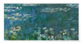 Poster  Water Lilies, Green Reflections 1 - Claude Monet