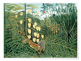 Poster  Tiger attacks a buffalo - Henri Rousseau