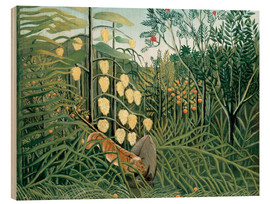 Stampa su legno  Tiger attacks a buffalo - Henri Rousseau
