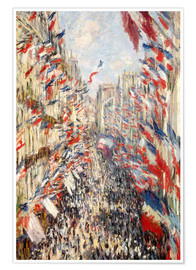 Poster Premium  Rue Montorgueil, celebrations June 30 - Claude Monet