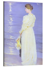 Stampa su alluminio  Woman in White on a Beach - Peder Severin Krøyer