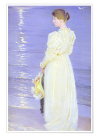 Poster Premium Woman in White on a Beach