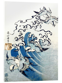 Stampa su vetro acrilico  Waves and Birds - Katsushika Hokusai