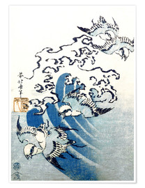 Poster Premium  Waves and Birds - Katsushika Hokusai