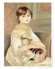 Poster Premium  Julie Manet with Cat - Pierre-Auguste Renoir