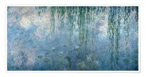 Poster Premium Waterlilies: Morning with Weeping Willows