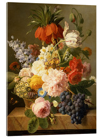 Stampa su vetro acrilico  Still Life with Flowers and Fruit - Jan Frans van Dael