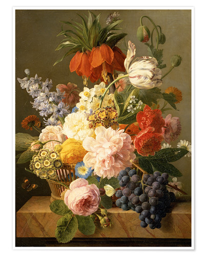 Poster Premium Still Life with Flowers and Fruit