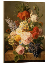 Stampa su legno  Still Life with Flowers and Fruit - Jan Frans van Dael