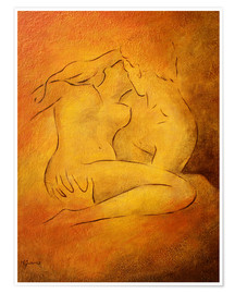 Poster  Flaming passion - lovers - Marita Zacharias