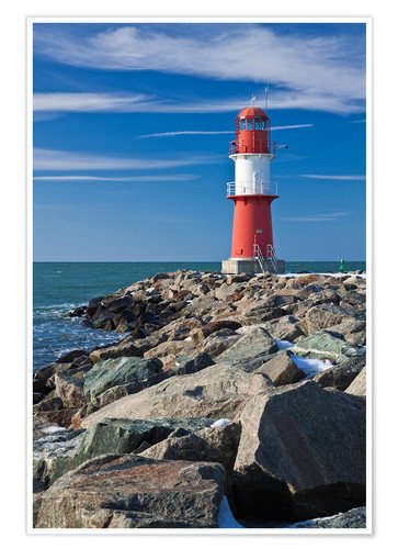 Poster Premium Lighthouse on the Baltic Sea coast in Warnemuende (Germany)