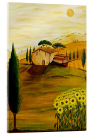 Stampa su vetro acrilico  Sunflowers in Tuscany - Christine Huwer