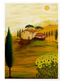 Poster Premium Sunflowers in Tuscany