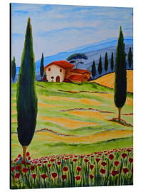 Stampa su alluminio  Flowering Poppies of Tuscany 4 - Christine Huwer