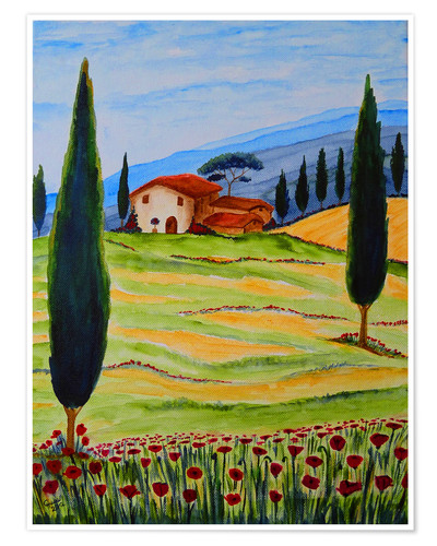 Poster Premium Flowering Poppies of Tuscany 4