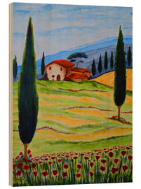 Legno  Flowering Poppies of Tuscany 4 - Christine Huwer