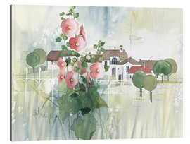 Stampa su alluminio  Rural Impression with hollyhocks - Franz Heigl