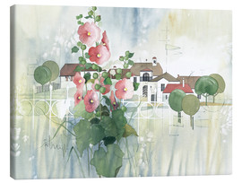Stampa su tela  Rural Impression with hollyhocks - Franz Heigl