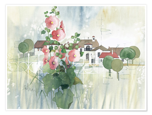Poster Premium Rural Impression with hollyhocks