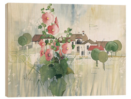 Stampa su legno  Rural Impression with hollyhocks - Franz Heigl