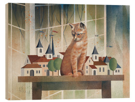 Stampa su legno  View of the cat - Franz Heigl
