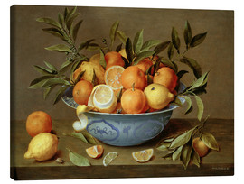 Stampa su tela  Still Life with Oranges and Lemons - Jacob van Hulsdonck