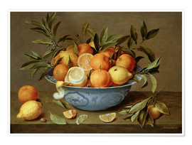 Poster Premium  Still Life with Oranges and Lemons - Jacob van Hulsdonck