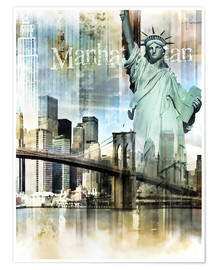 Poster Premium  Skyline Manhattan, New York Fraktal - Städtecollagen