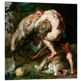 Stampa su schiuma dura  Hercules Fighting the Nemean Lion - Peter Paul Rubens