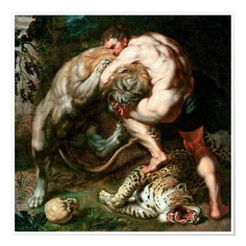 Poster Premium  Hercules Fighting the Nemean Lion - Peter Paul Rubens