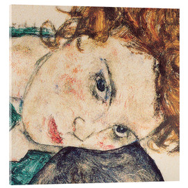 Stampa su vetro acrilico  Seated woman with bent knee, detail - Egon Schiele