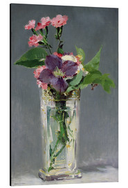 Stampa su alluminio  Pinks and Clematis in a Crystal Vase - Edouard Manet