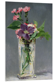 Stampa su schiuma dura  Pinks and Clematis in a Crystal Vase - Edouard Manet