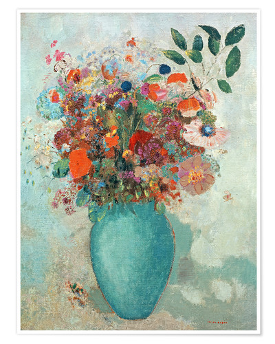 Poster Premium Flowers in a Turquoise Vase