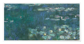 Poster  Water Lilies, Green Reflections 2 - Claude Monet