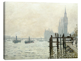 Stampa su tela  The Thames below Westminster - Claude Monet