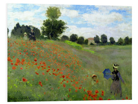 Stampa su schiuma dura  Poppy field at Argenteuil, detail - Claude Monet