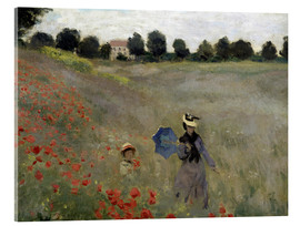 Stampa su vetro acrilico  Poppy field at Argenteuil, detail - Claude Monet