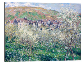 Stampa su alluminio  Plum Trees in Blossom at Vetheuil - Claude Monet