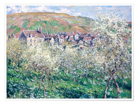 Poster Premium  Plum Trees in Blossom at Vetheuil - Claude Monet