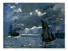 Poster Premium  Ships in Moonshine - Claude Monet