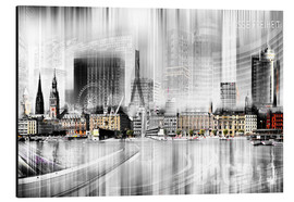 Stampa su alluminio  Hamburg Skyline Germany - Städtecollagen