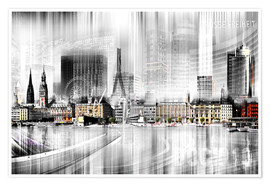 Poster Premium  Hamburg Skyline Germany - Städtecollagen