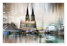 Poster Premium  Skyline astratto di Colonia, Germania - Städtecollagen