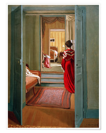 Poster Premium Interior with woman in red