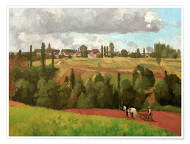 Poster Premium Landscape with Peasant Ploughing